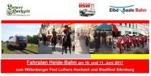 Sonderfahrplan-Heidebahn 10. 11. Juni 2017 zu  Luthers Hochzeit